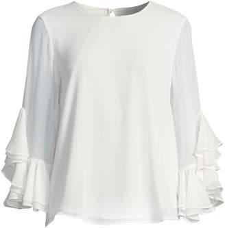 Iconic American Designer Cascading-Ruffle Sleeve Blouse