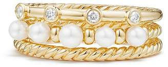 David Yurman Petite Perle Narrow Multi Row Ring with Cultured Freshwater Pearls and Diamonds in 18K Gold