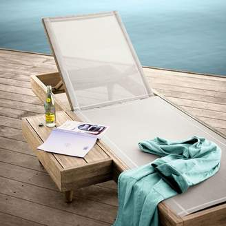 west elm Portside Outdoor Low Textilene Chaise Lounger - Weathered Gray