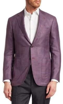 Canali Wool & Silk Houndstooth Blazer