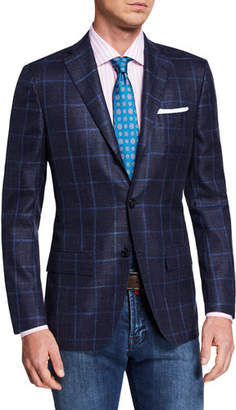 Kiton Men's Cashmere/Silk Windowpane Sport Coat