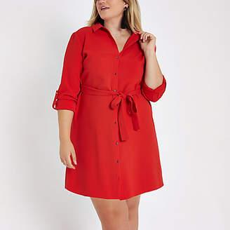 River Island Plus red midi shirt dress