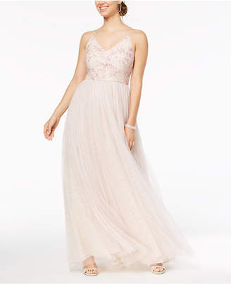 Adrianna Papell Sequined Embroidered Tulle Gown, Regular & Petite Sizes