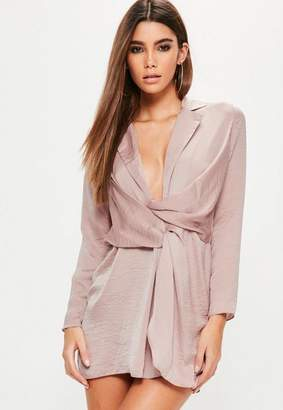Missguided Petite Pink Hammered Satin Wrap Plunge Dress