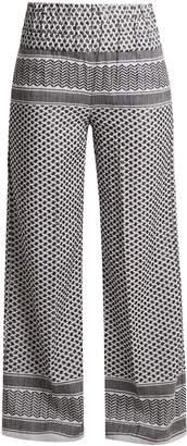 CECILIE COPENHAGEN Wide-leg scarf-jacquard cotton trousers