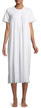 P Jamas Bouquets Short-Sleeve Long Nightgown