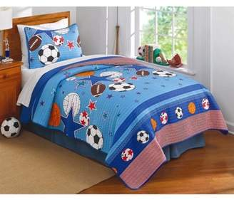 Laura Hart Kids Sports and Stars Twin Quilt with Pillow Sham