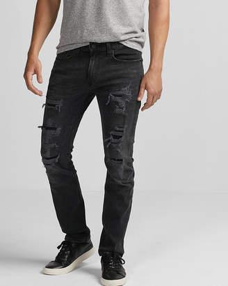 Express Slim Black Destroyed Stretch Jeans