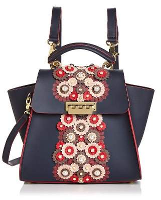 Zac Posen Eartha Floral Leather Applique Convertible Backpack