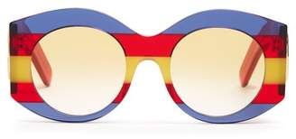 Gucci Striped Round Frame Acetate Sunglasses - Womens - Red Multi
