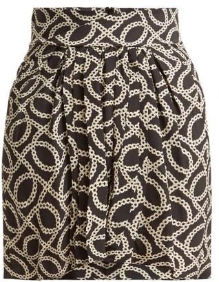 Isabel Marant Hemen Cog Print Silk Blend Mini Skirt - Womens - Black White