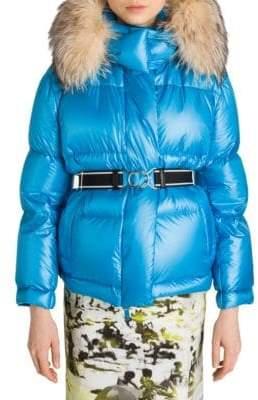 Prada Fox-Fur Trimmed Belted Puffer Coat