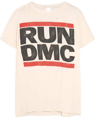 Off-White MadeWorn - Run Dmc Distressed Printed Cotton-jersey T-shirt