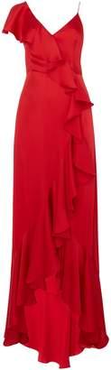 Jill Stuart V neck sleeveless satin frill dress