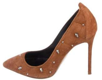 Thomas Wylde Skull Suede Pumps