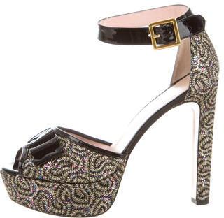 RED ValentinoRed Valentino Glitter Platform Sandals