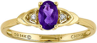 FINE JEWELRY Genuine Purple Amethyst Diamond-Accent 14K Yellow Gold Ring