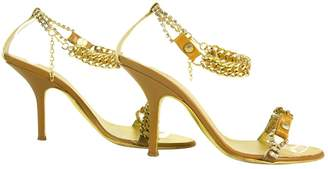 Roberto Cavalli Gold & Tan Leather Chain Sandals Slides Ankle Strap Sz 37 Shoes