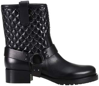 Valentino Flat Booties Rockstud Spike Biker Ankle Boots In Leather With Studs