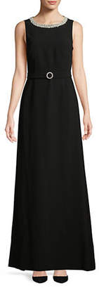 Karl Lagerfeld PARIS Faux Pearl-Trimmed Gown