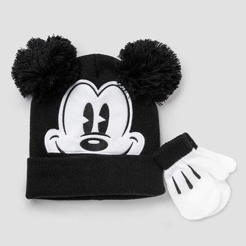 Disney Toddler Boys' Disney Mickey Mouse Hat and Mitten Set - Red/Gray One Size