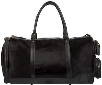 MAHI Leather - Leather Columbus Duffle Overnight Bag in Ebony Black Pony Hair