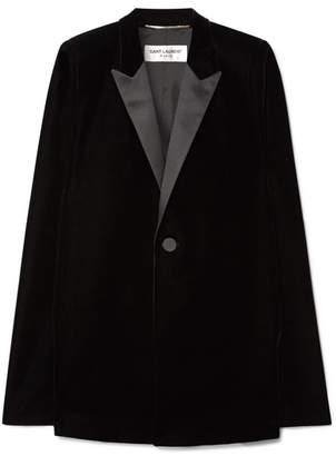 Saint Laurent Satin-trimmed Velvet Cape - Black