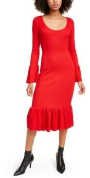 Almost Famous Crave Fame Juniors' Ruffled Bodycon Midi Dress
