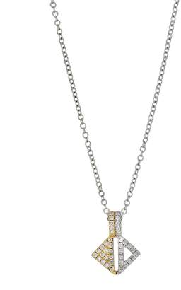 Bony Levy 18K Two-Tone Pave Diamond Cutout Triangle Pendant Necklace