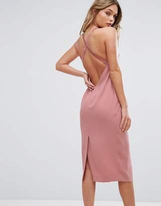 Bec & Bridge Velvet Strap Dress With Cross Back