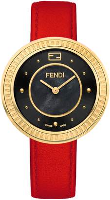Fendi My Way Genuine Fox Fur Leather Strap Watch, 36mm