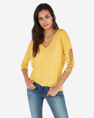 Express One Eleven Lace-Up Sleeve London Tee