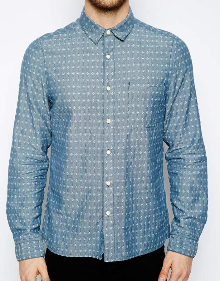 Asos Dobby Chambray Shirt In Long Sleeve