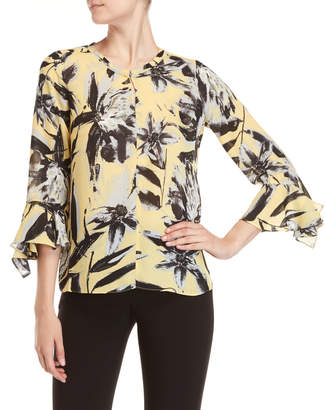 Sioni Printed Keyhole Bell Sleeve Top