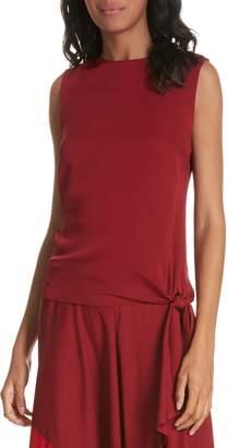 Milly Jana Sleeveless Tie Stretch Silk Top