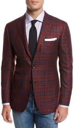 Kiton Plaid Cashmere-Silk-Linen Sport Coat, Red $7,495 thestylecure.com