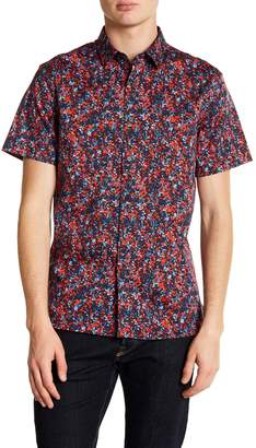 Perry Ellis Slim Fit Short Sleeve Splatter Print Shirt