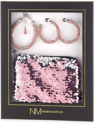 Berry Jewelry Sequin Pouch, Earrings & Bracelet Gift Set, Pink