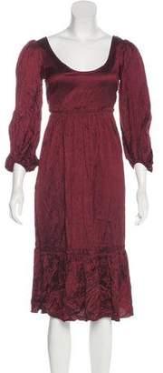 Calypso Long Sleeve Silk Midi Dress