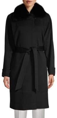 Sofia Cashmere Wool & Cashmere Fox Fur-Collared Long Coat