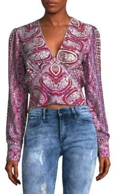 Free People Printed V-Neck Top