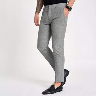 River Island Mens Grey check super skinny fit trousers
