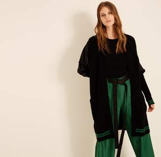 Amanda Wakeley Black & Emerald Ribbed Cashmere Cardigan