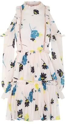 Self-Portrait Floral Cold Shoulder Mini Dress