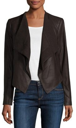 Neiman Marcus Draped Goatskin Leather Easy Jacket, Chocolate Brown $295 thestylecure.com