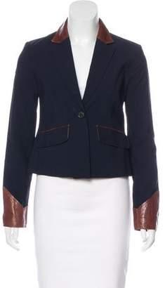 Elizabeth and James Wool-Blend Leather-Trimmed Blazer w/ Tags