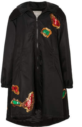 Valentino Hooded Sequin-embellished Shell Coat - Black