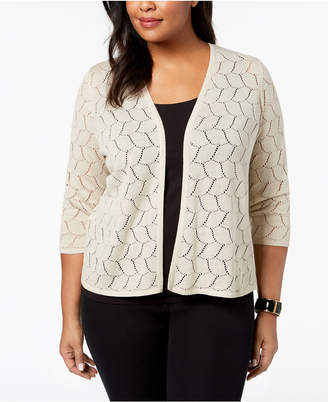 Charter Club Plus Size Patterned-Knit Cardigan, Created for Macy's