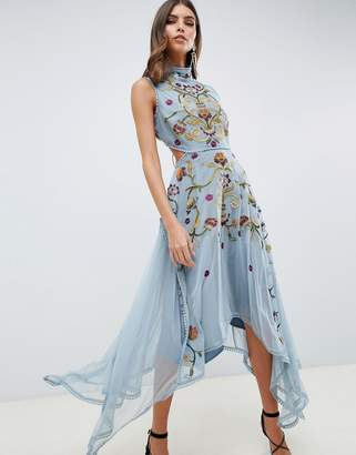 Asos Design DESIGN embroidered midi dress with hanky hem and lace up back