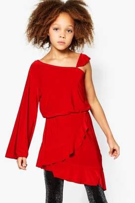 boohoo Girls Asymetric Ruffle One Shoulder Dress